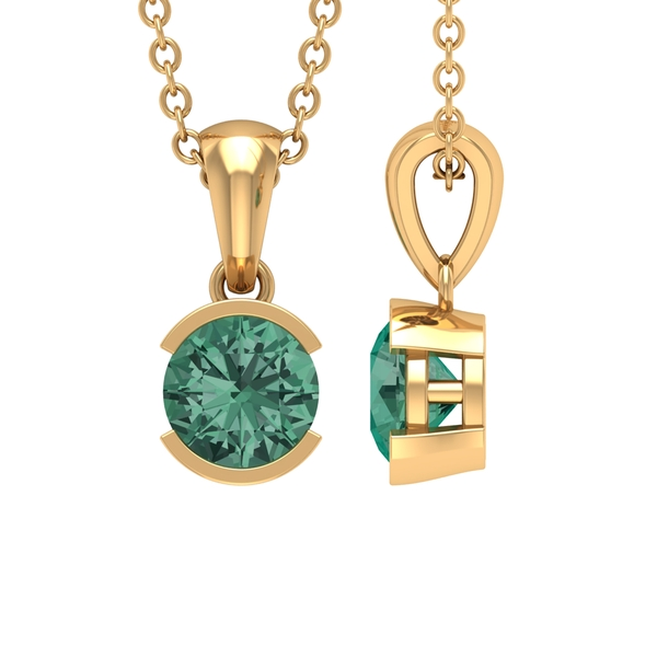 5X5 MM Round Cut Green Sapphire Solitaire Pendant in Half Bezel Setting