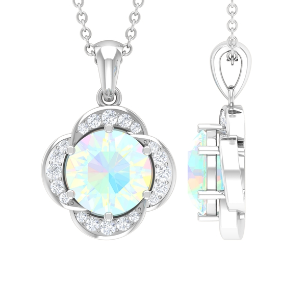 1 CT Round Shape Ethiopian Opal and Moissanite Solitaire Flower Pendant Necklace