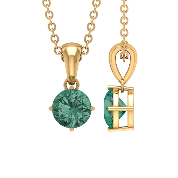 5X5 MM Round Shape Green Sapphire Solitaire Pendant in 4 Prong Diagonal Setting