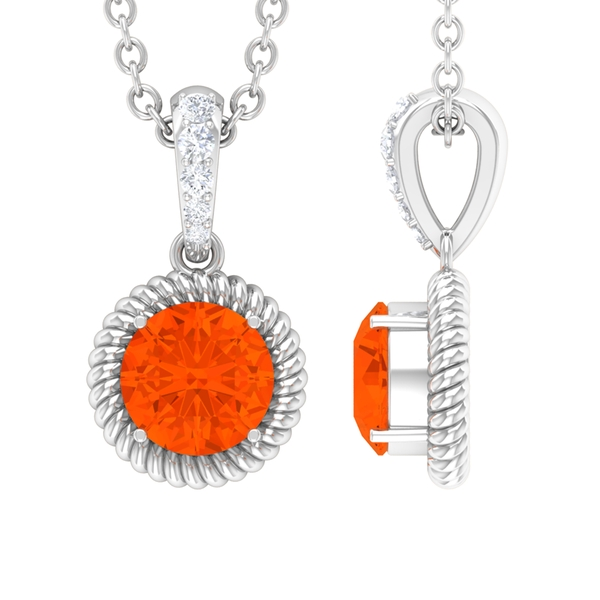 1/4 CT Round Shape Fire Opal Solitaire and Diamond Drop Pendant