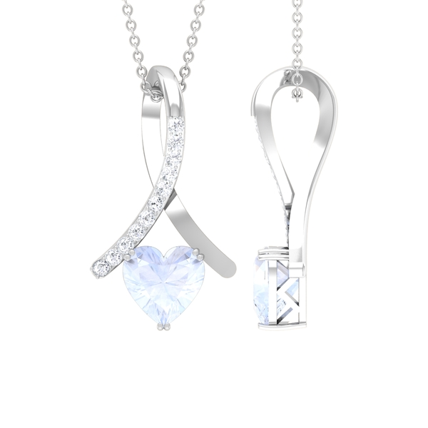 1.25 CT Heart Shape Moonstone and Moissanite Accent Pendant in Double Prong Setting