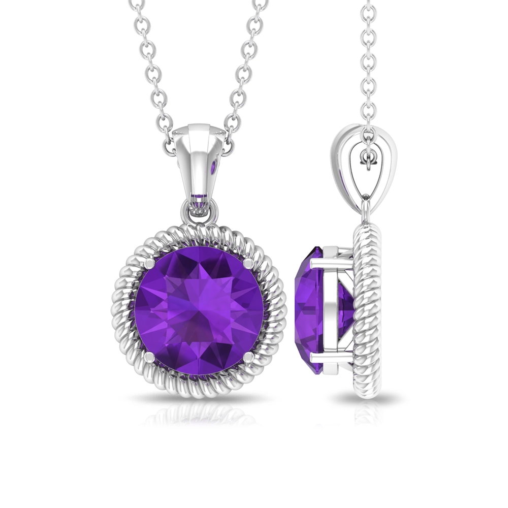 8X8 MM Round Shape Amethyst Solitaire Gold Pendant for Women