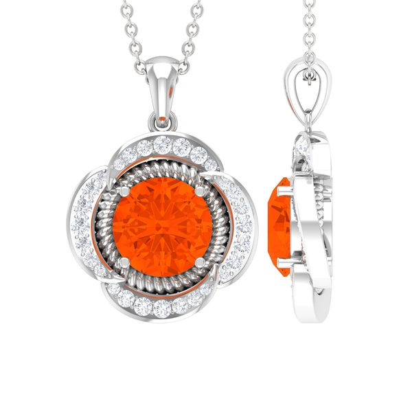 1.25 CT Round Shape Fire Opal Solitaire and Moissanite Flower Pendant Necklace