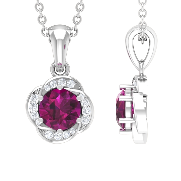 3/4 CT Rhodolite and Diamond Solitaire Flower Pendant Necklace