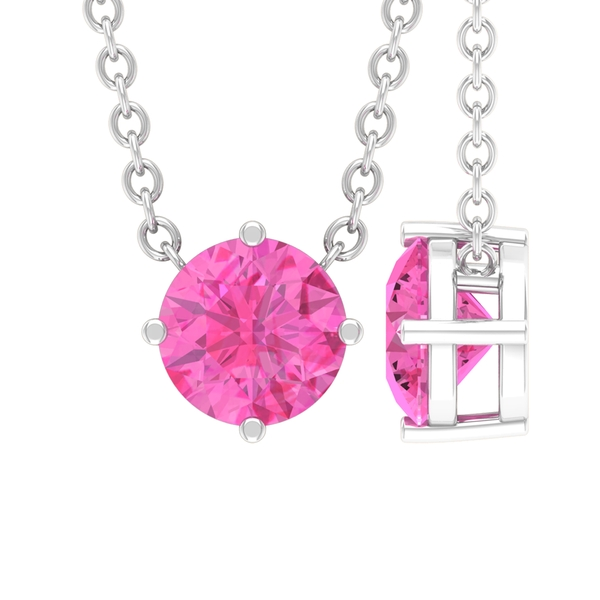 September Birthstone 5 MM Pink Sapphire Solitaire Cocktail Pendant Necklace for Women