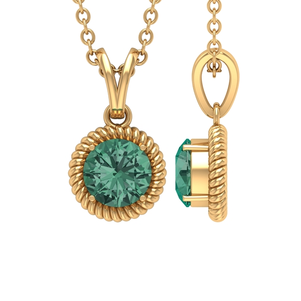 5X5 MM Round Shape Green Sapphire Solitaire Pendant in 4 Prong Setting with Rabbit Ear Bail and Twisted Rope Frame