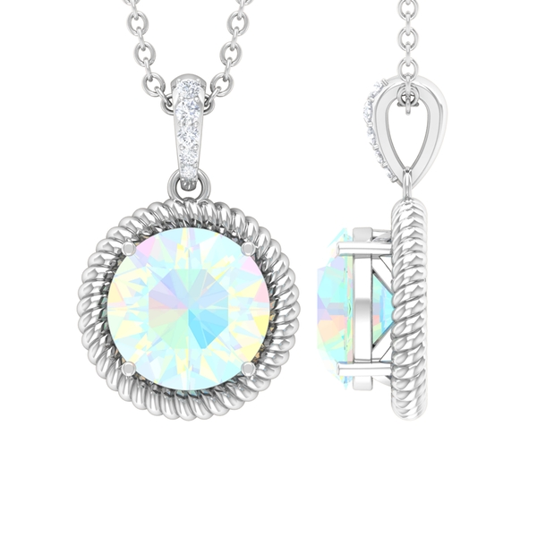 1 CT Round Shape Ethiopian Opal and Moissanite Solitaire Pendant Necklace