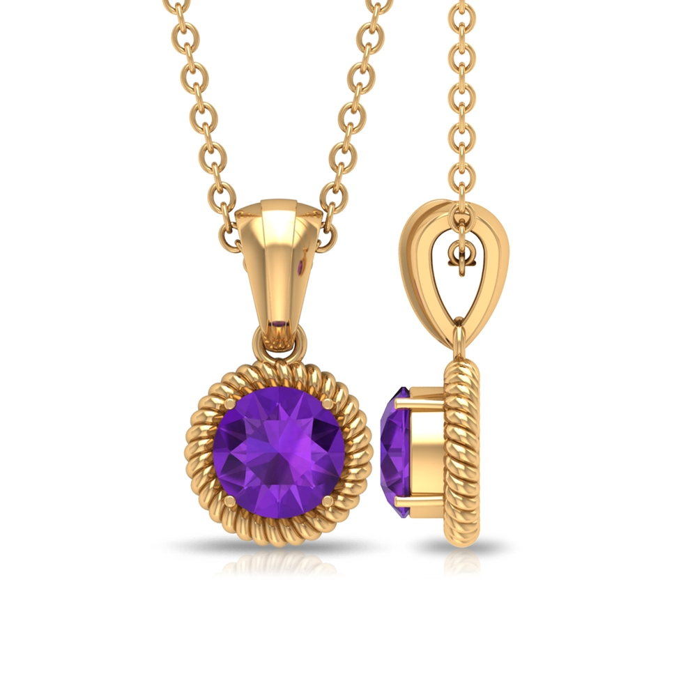 5X5 MM Round Shape Amethyst Gold Solitaire Pendant Necklace for Women