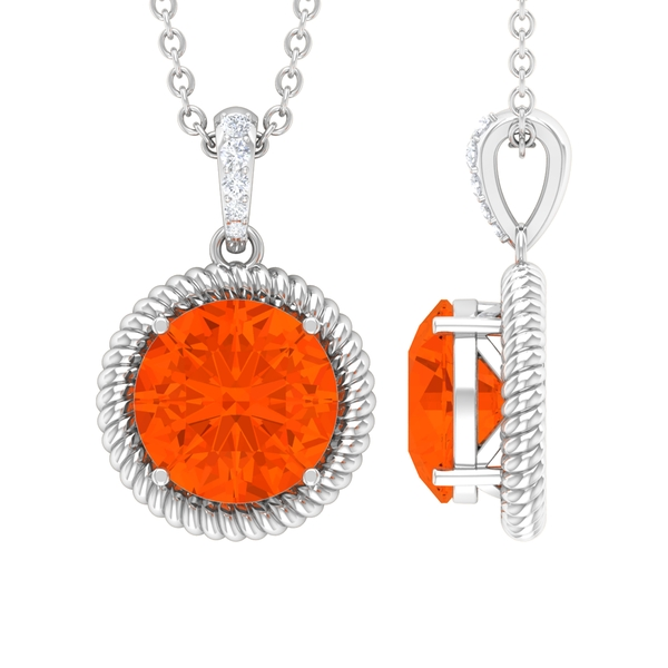 1 CT Round Shape Fire Opal and Moissanite Solitaire Pendant Necklace