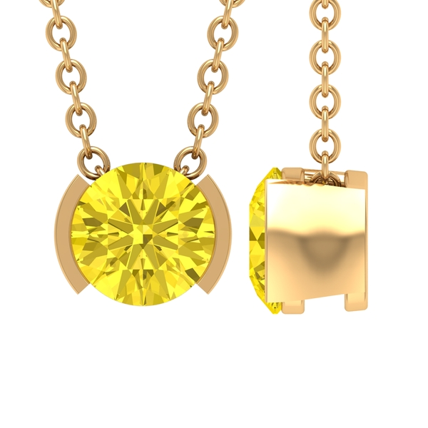 5X5 MM Round Shape Yellow Sapphire Solitaire Pendant in Half Bezel Setting