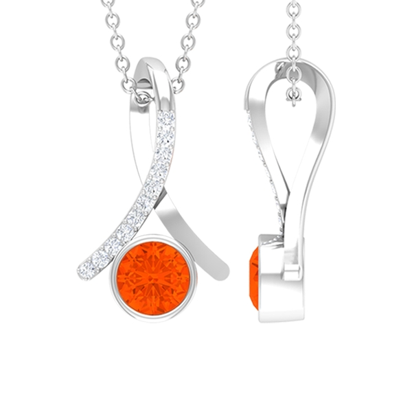 1/4 CT Fire Opal and Diamond Accent Pendant in Bezel Setting