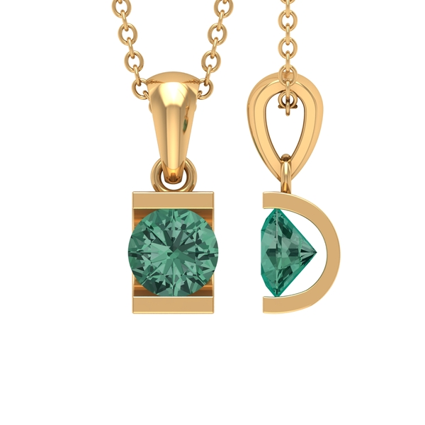 5 MM Round Cut Green Sapphire Solitaire Pendant in Bar Setting For Women
