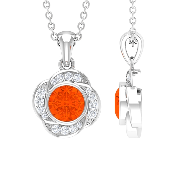5 MM Round Shape Fire Opal and Diamond Gold Floral Pendant for Women