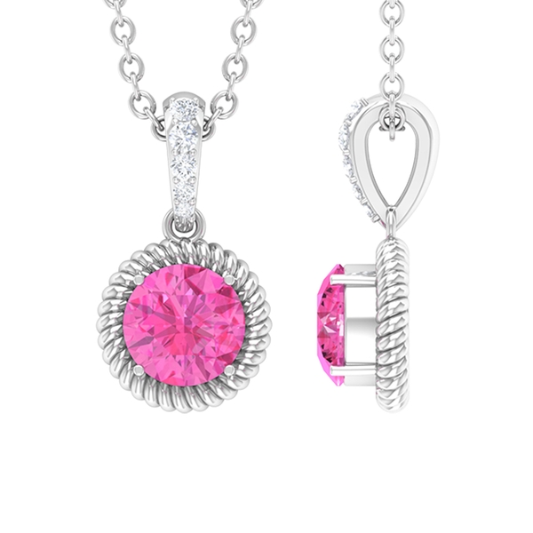 5 MM Prong Set Round Shape Pink Sapphire Solitaire Pendant with Diamond and Rope Frame