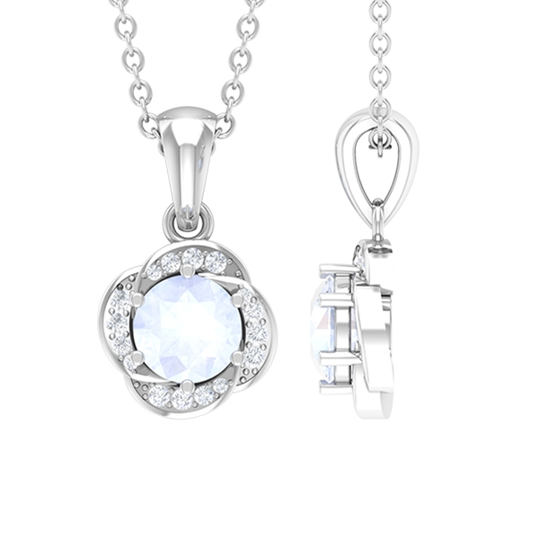 1/4 CT Moonstone and Diamond Solitaire Flower Pendant Necklace