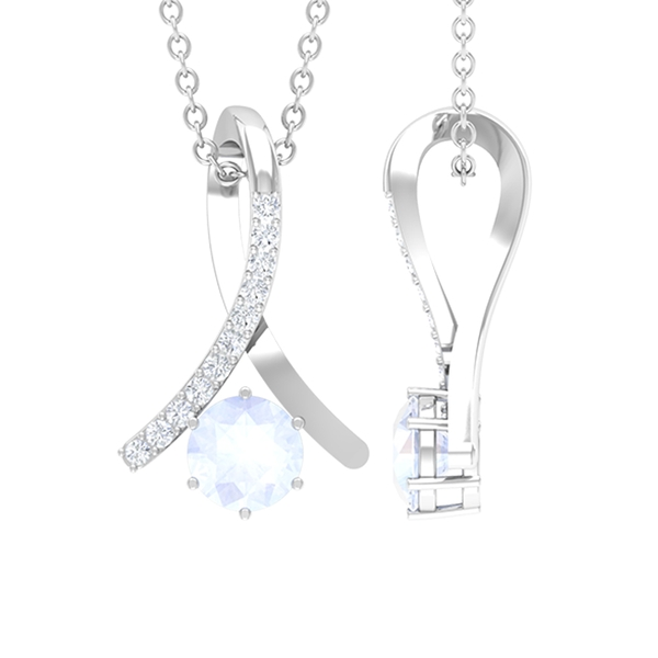 1/4 CT Moonstone and Diamond Accent Pendant in 6 Prong Setting