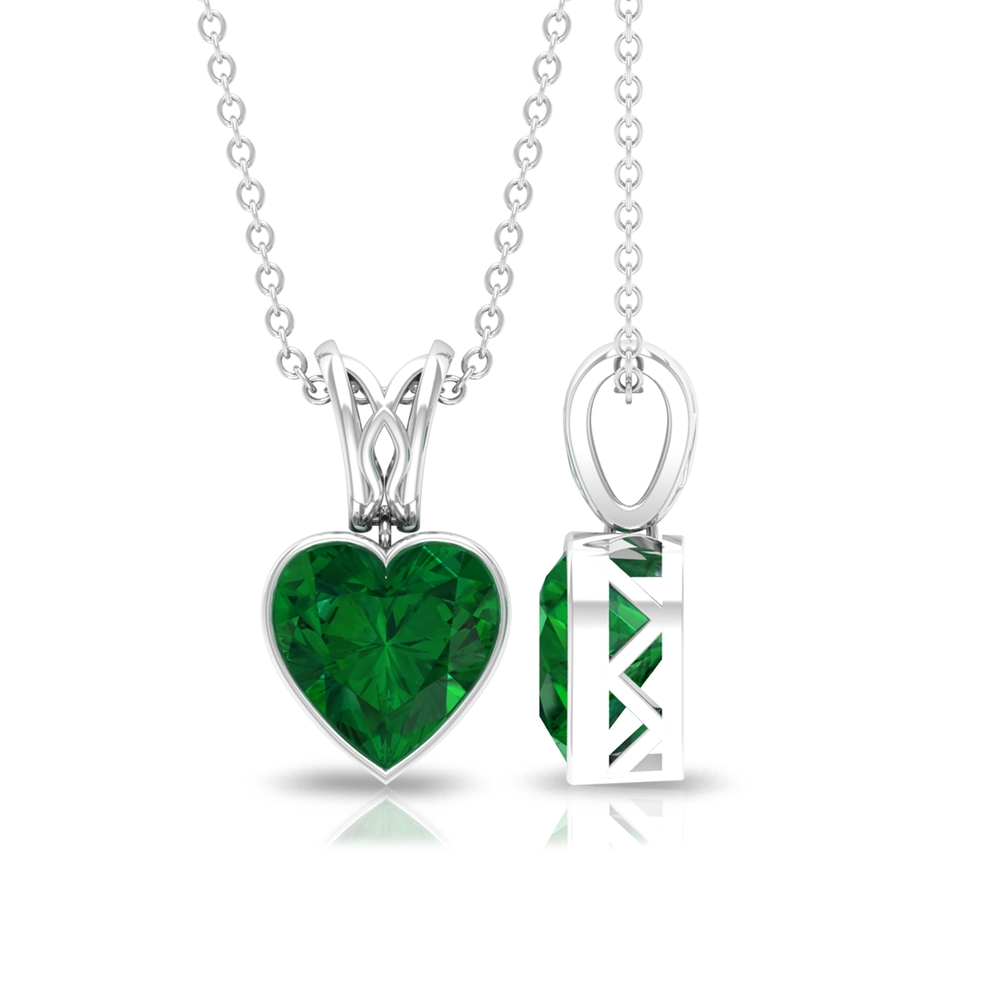 8 MM Heart Cut Emerald Solitaire Pendant in Bezel Setting with Decorative Bail