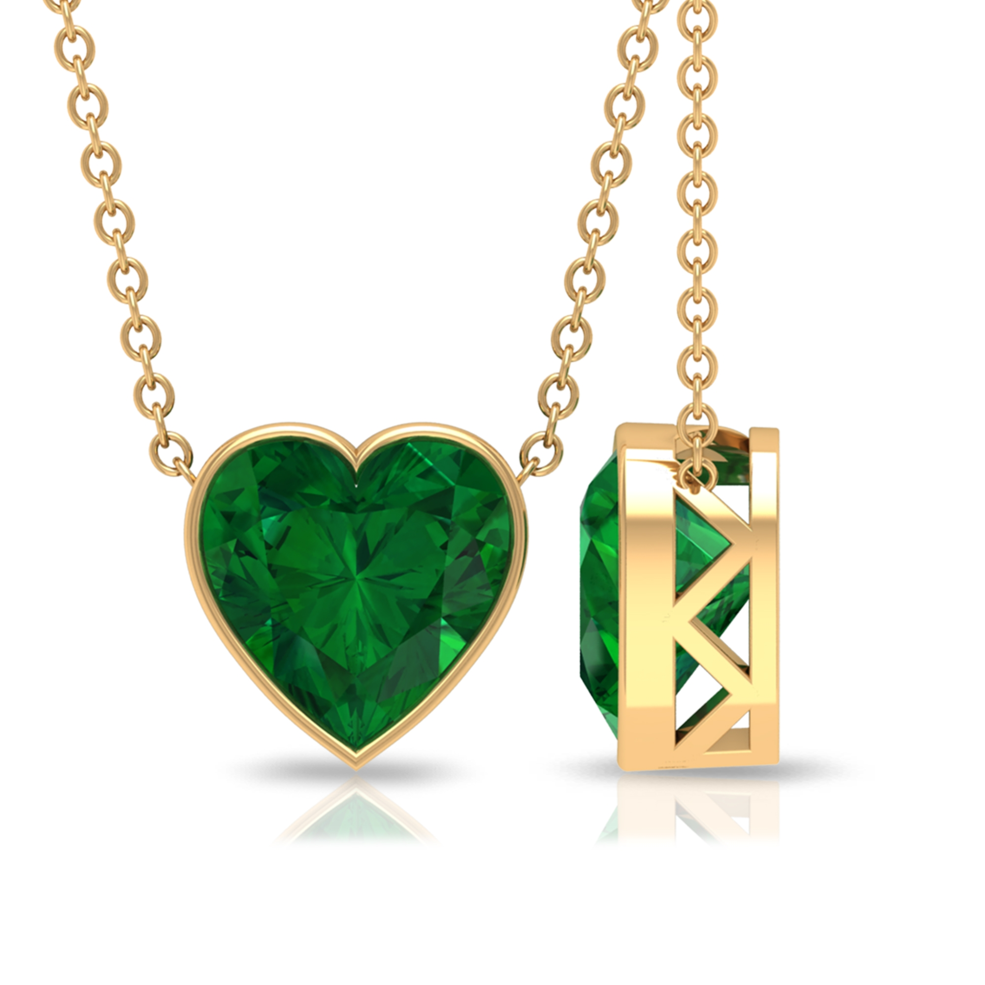8 MM Heart Cut Emerald Solitaire Necklace in Bezel Setting