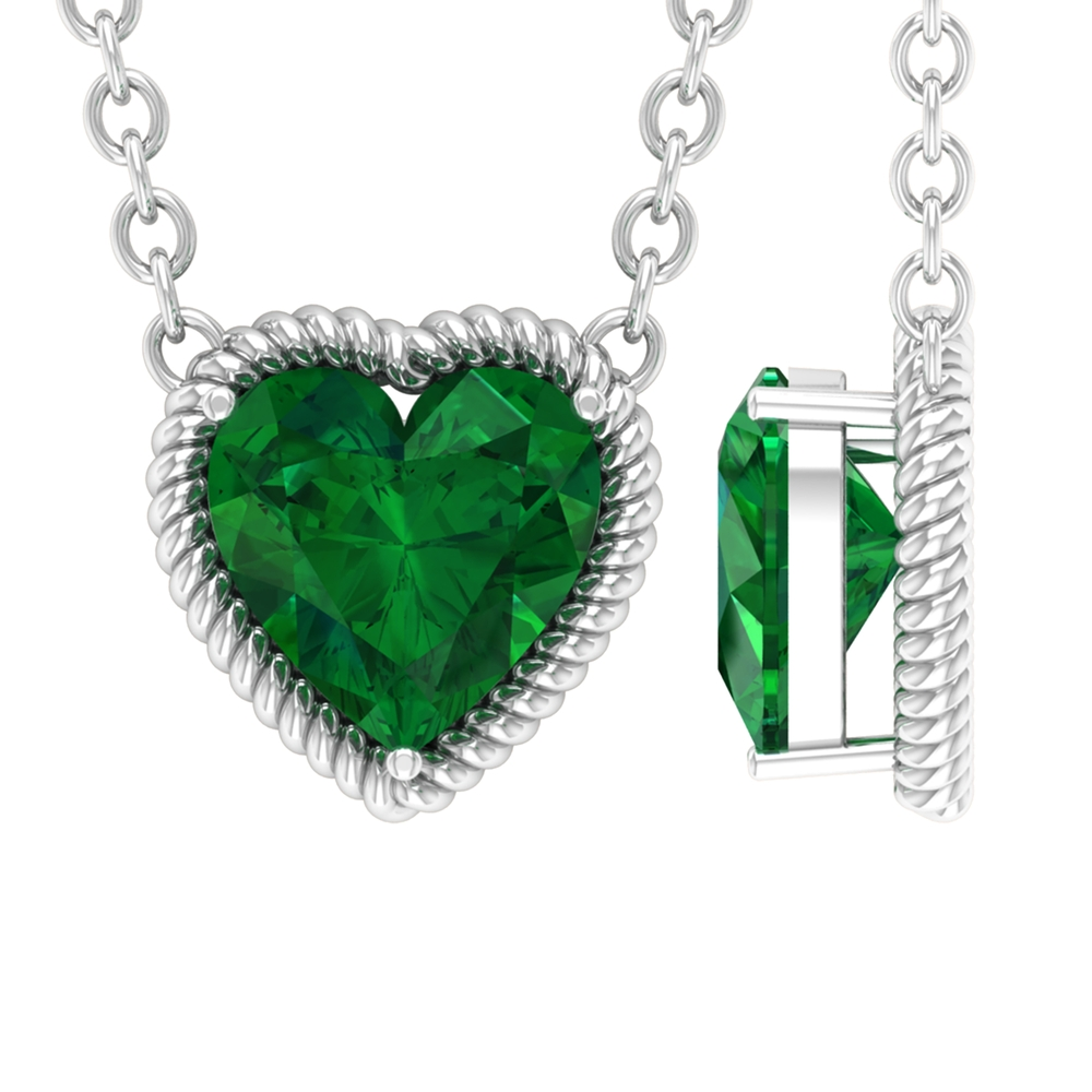 8 MM Heart Cut Emerald Solitaire Necklace in Prong Setting with Rope Frame