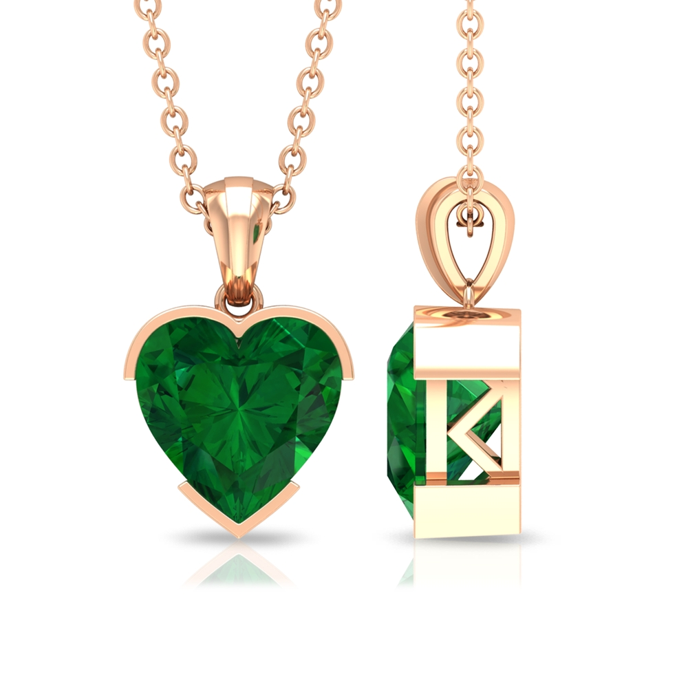 8 MM Heart Shape Emerald Solitaire Pendant in Half Bezel Setting with Bail