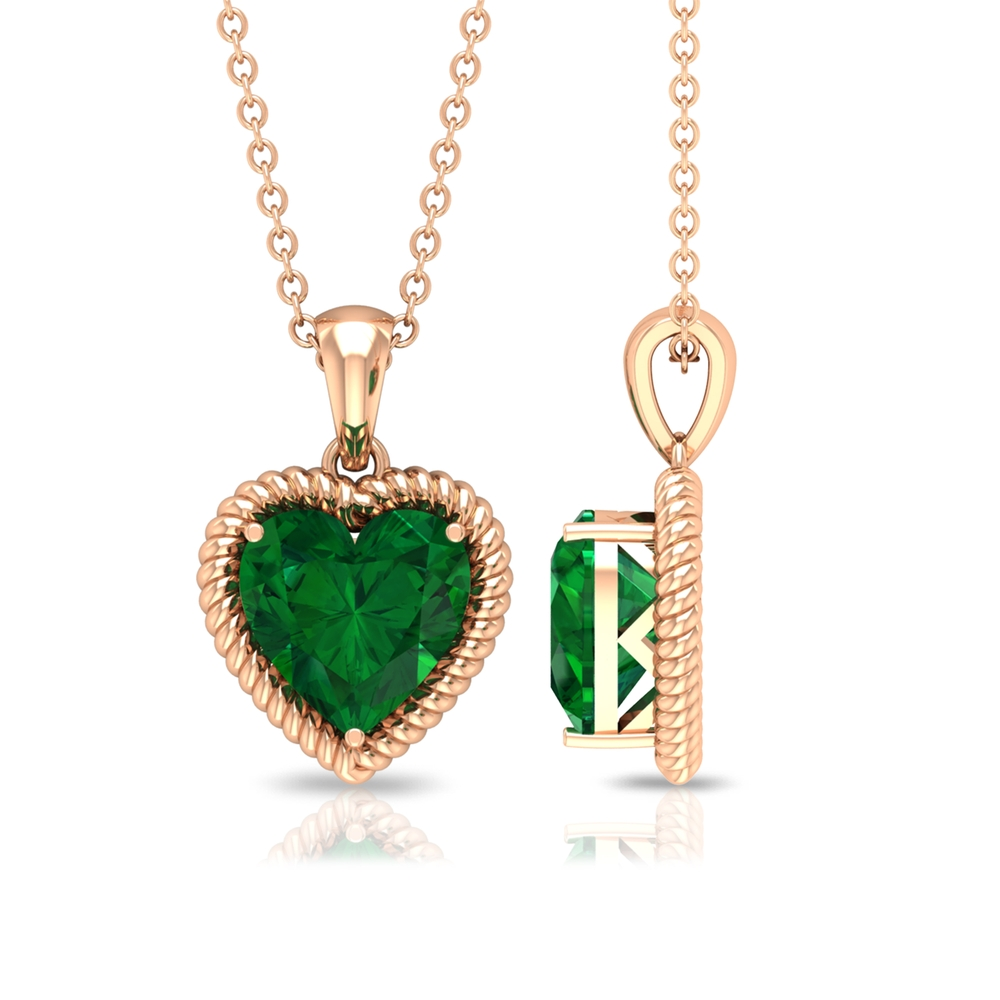 8 MM Heart Shape Emerald Solitaire Pendant in Prong Setting with Rope Frame