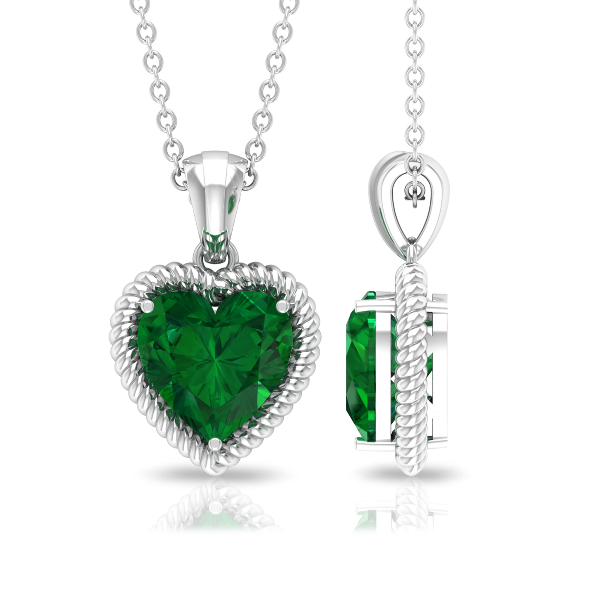 8 MM Heart Shape Emerald Solitaire Pendant in 3 Prong Setting with Rope Frame