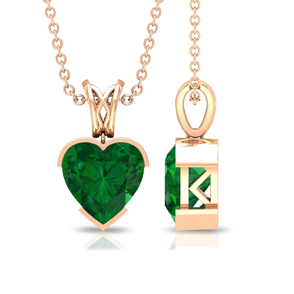 8 MM Heart Shape Emerald Solitaire Pendant in Half Bezel Setting with Decorative Bail for Women