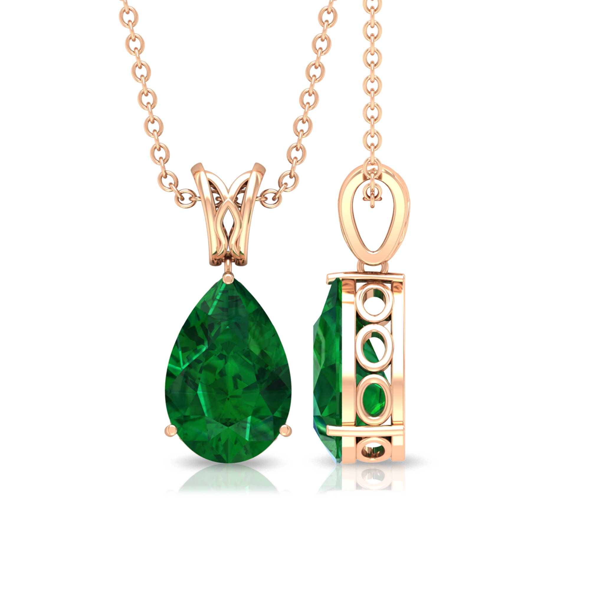 Three Prong Set 7X10 MM Pear Cut Emerald Solitaire Pendant with Decorative Bail
