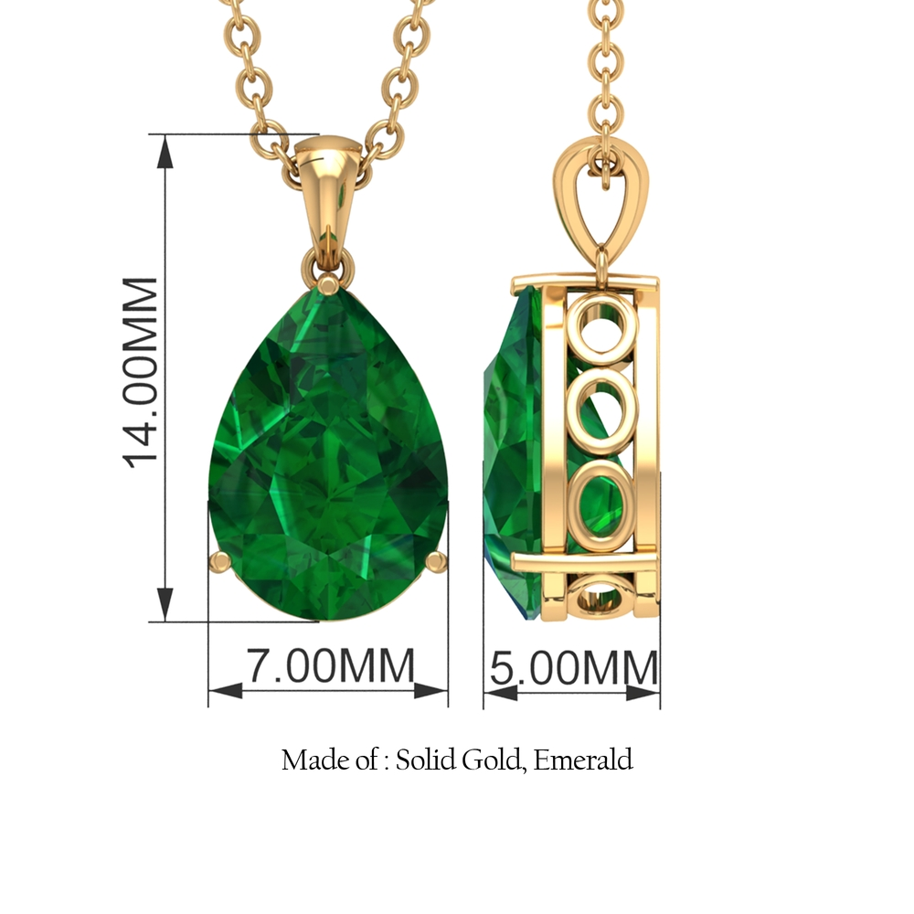 7X10 MM Pear Cut Emerald Solitaire Teardrop Pendant in Three Prong Setting