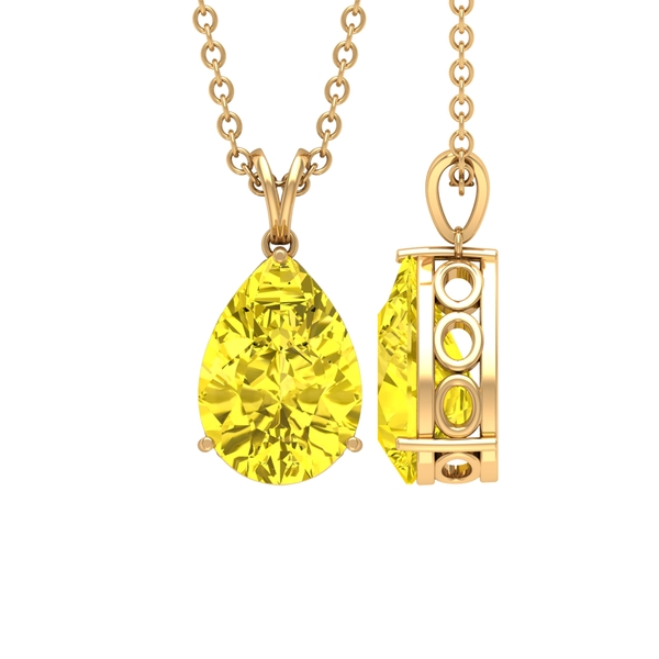 7X10 MM Pear Cut Yellow Sapphire Solitaire Pendant in Prong Setting with Rabbit Ear Bail