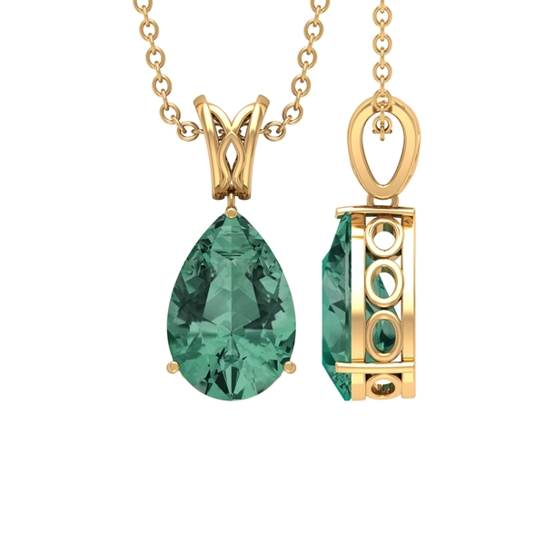 7X10 MM Pear Cut Green Sapphire Solitaire Pendant in 3 Prong Setting with Decorative Bail