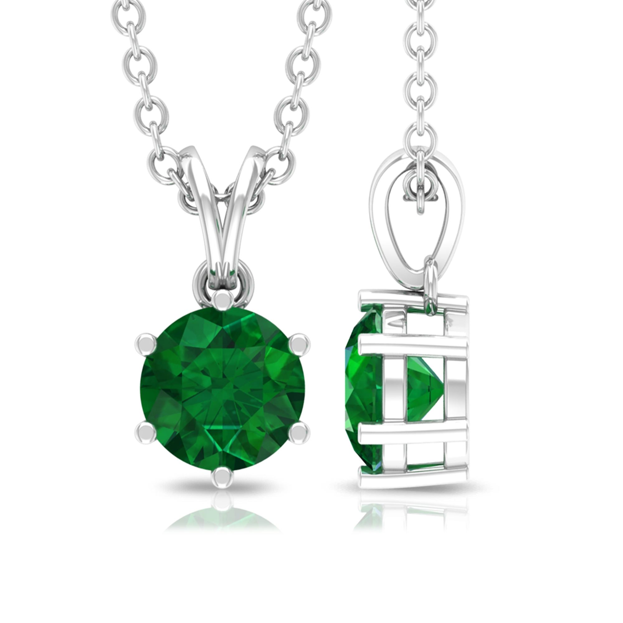 5 MM Round Cut Emerald Solitaire Pendant in Six Prong Set with Rabbit Ear Bail