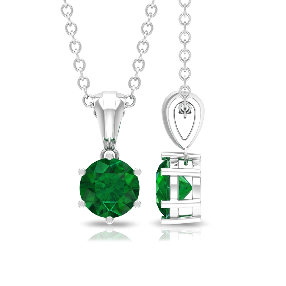 Six Prong Set 5 MM Round Cut Emerald Solitaire Pendant in Rondelle Bail