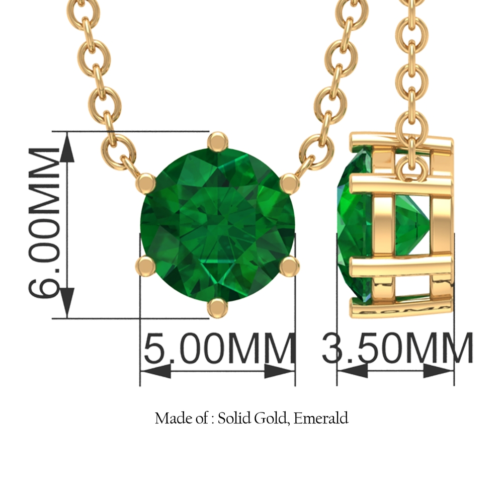 Six Prong Set 5 MM Round Cut Solitaire Emerald Necklace