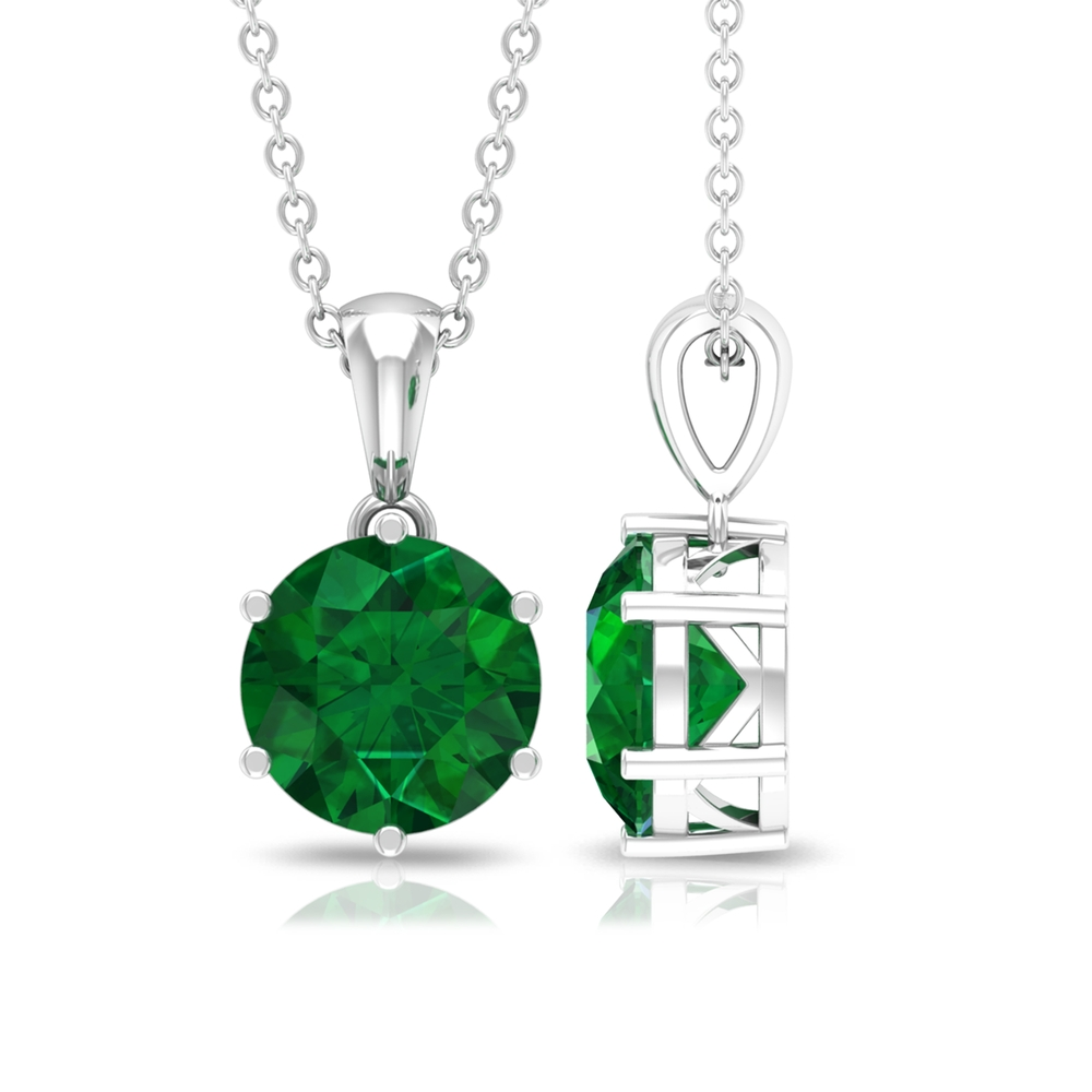8 MM Round Cut Solitaire Emerald Pendant in Six Prong Setting