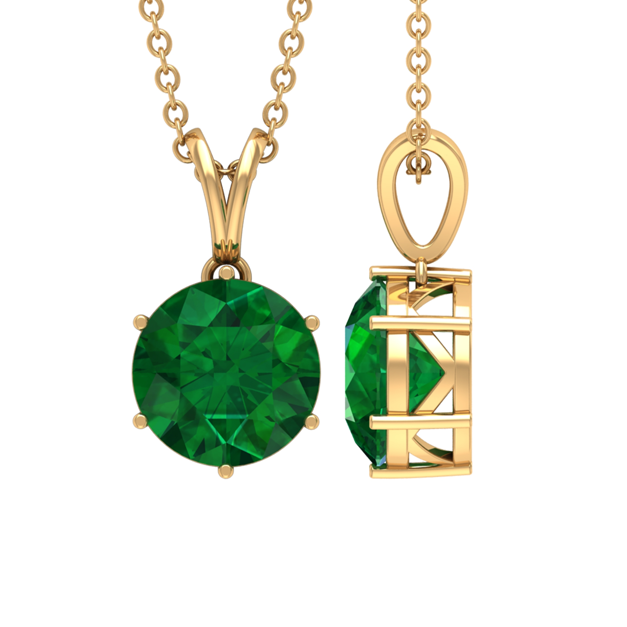 Six Prong Set 8 MM Round Cut Solitaire Emerald Pendant with Rabbit Ear Bail