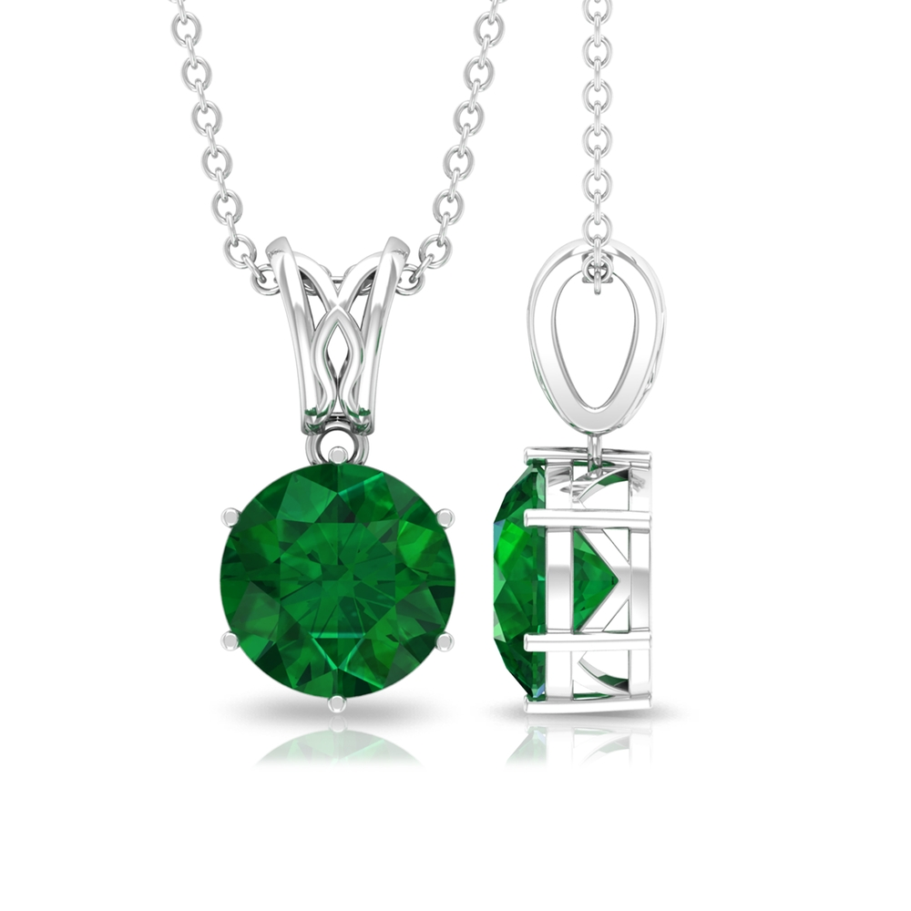 8 MM Round Cut Emerald Solitaire Pendant in Six Prong Setting with Decorative Bail