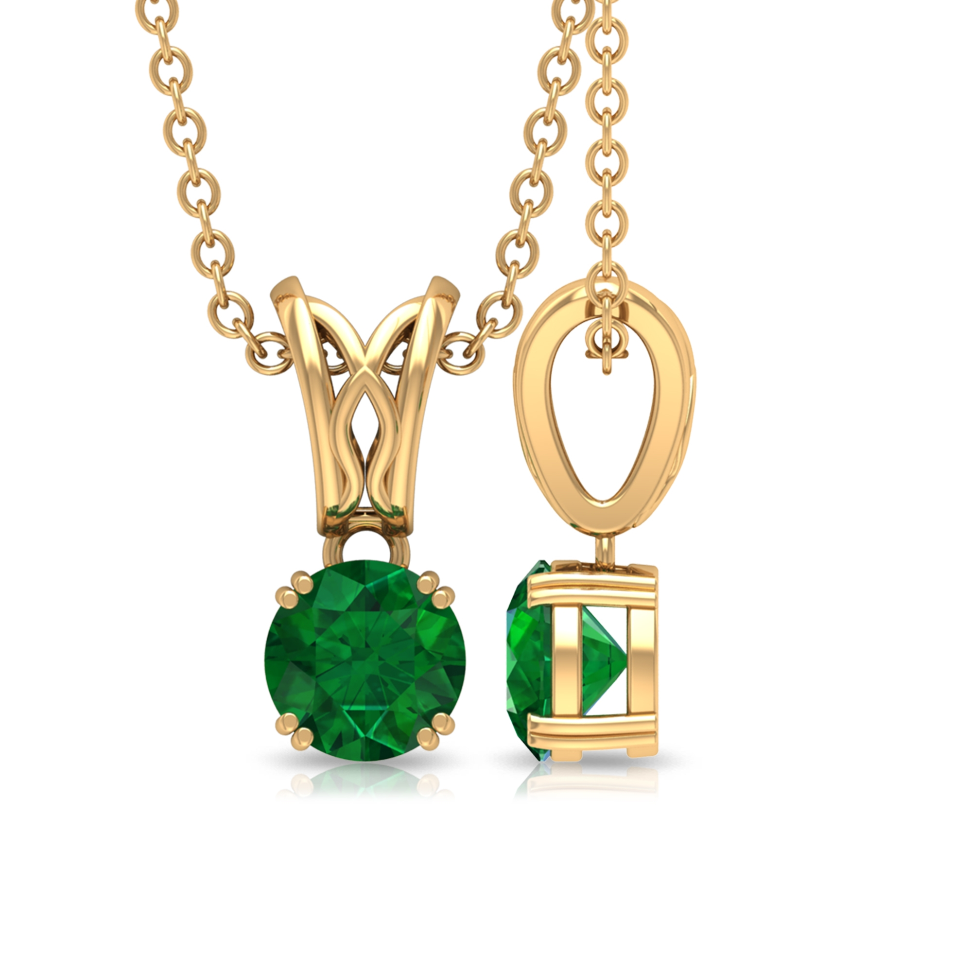5 MM Round Cut Emerald Solitaire Pendant in Double Prong Set with Decorative Bail