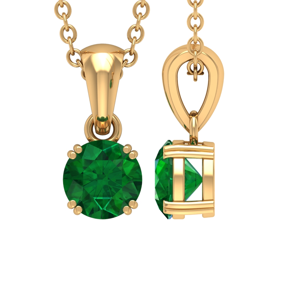 5 MM Round Cut Emerald Solitaire Pendant in Double Prong Setting
