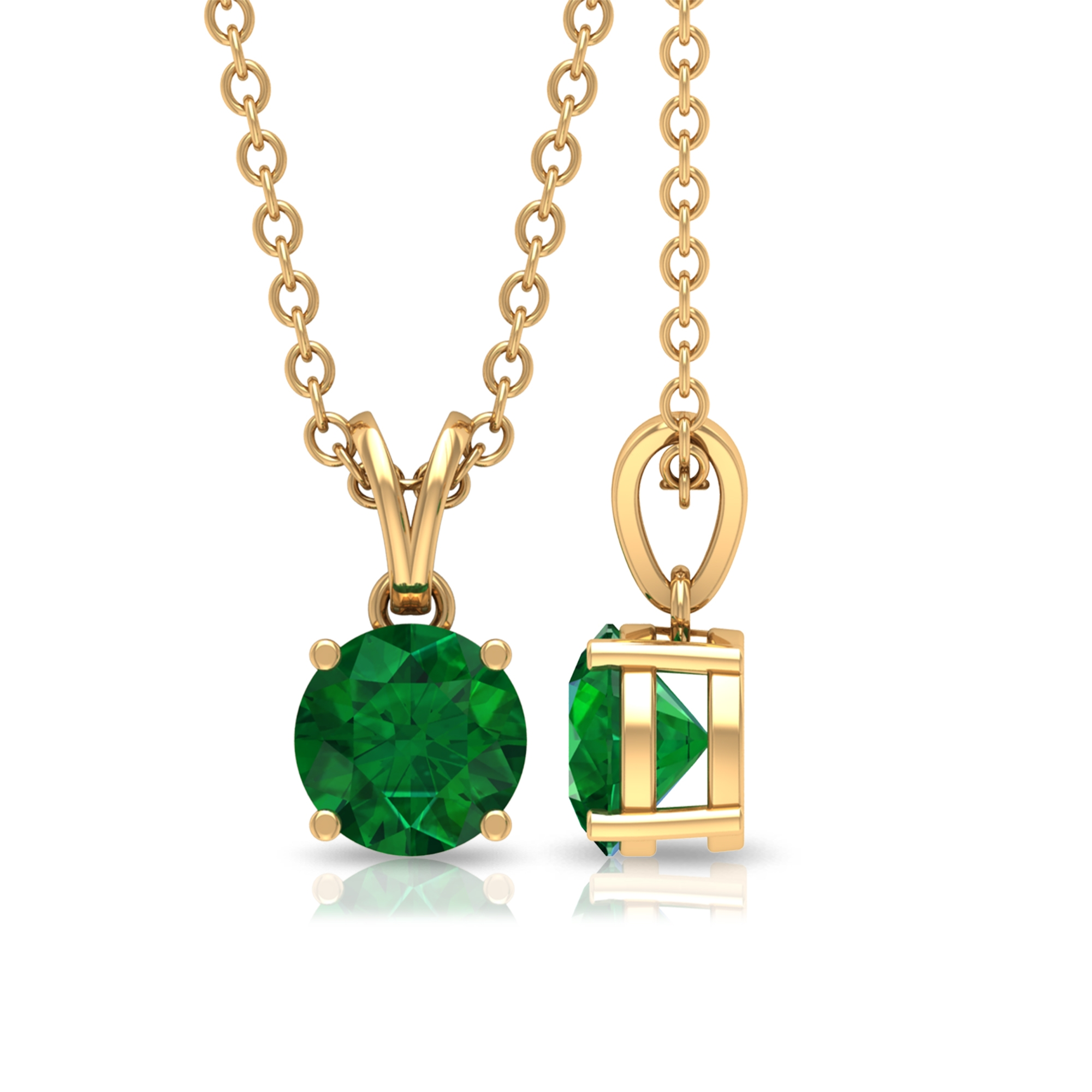 Four Prong Set 5 MM Round Cut Emerald Solitaire Pendant Necklace with Rabbit Ear Bale