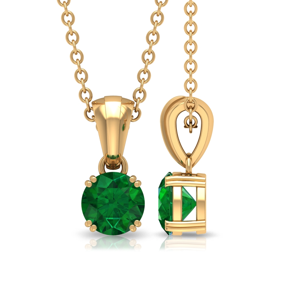 5 MM Round Cut Emerald Solitaire Pendant in Double Prong Set with Rondelle Bale