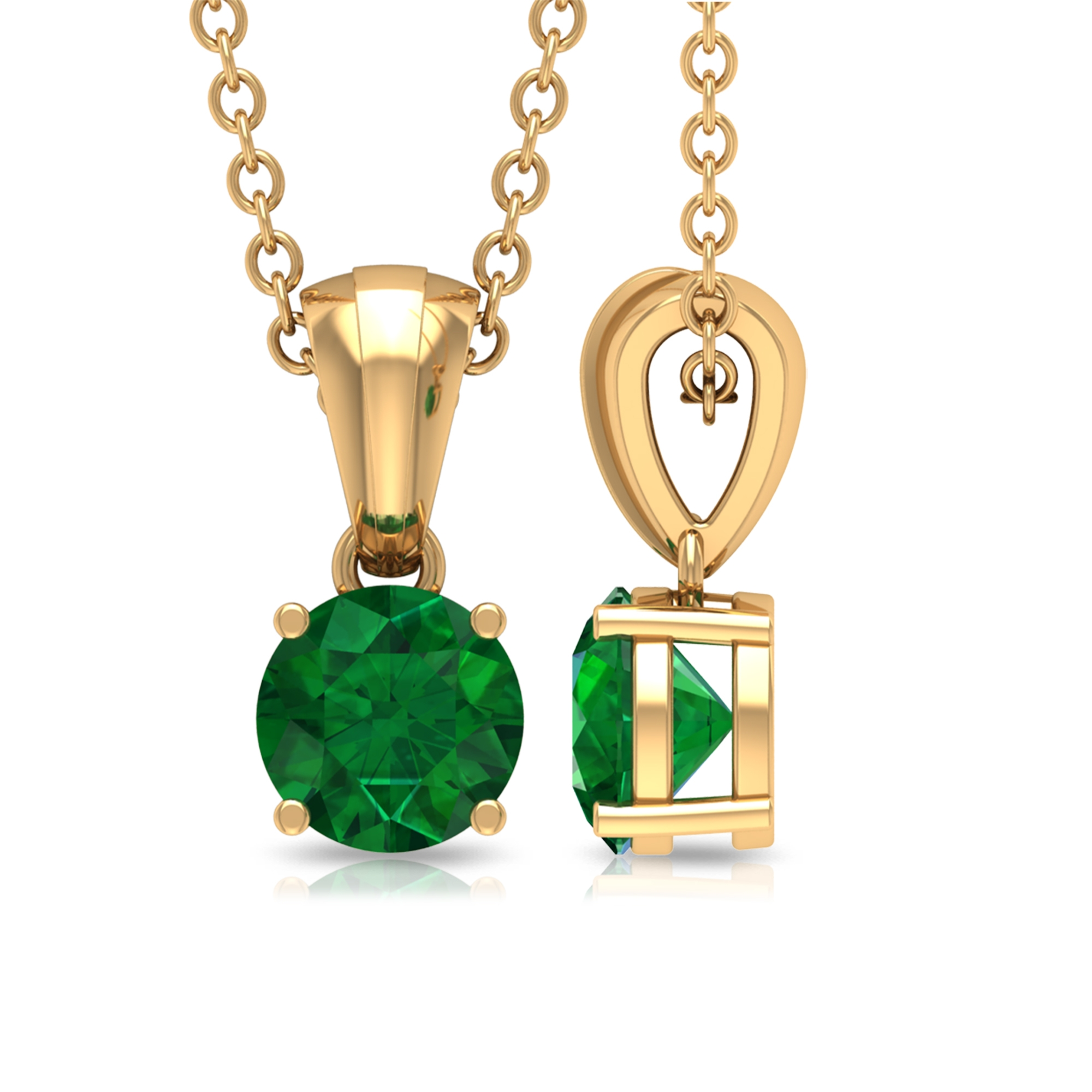 Four Prong Set 5 MM Round Cut Emerald Solitaire Pendant with Rondelle Bale