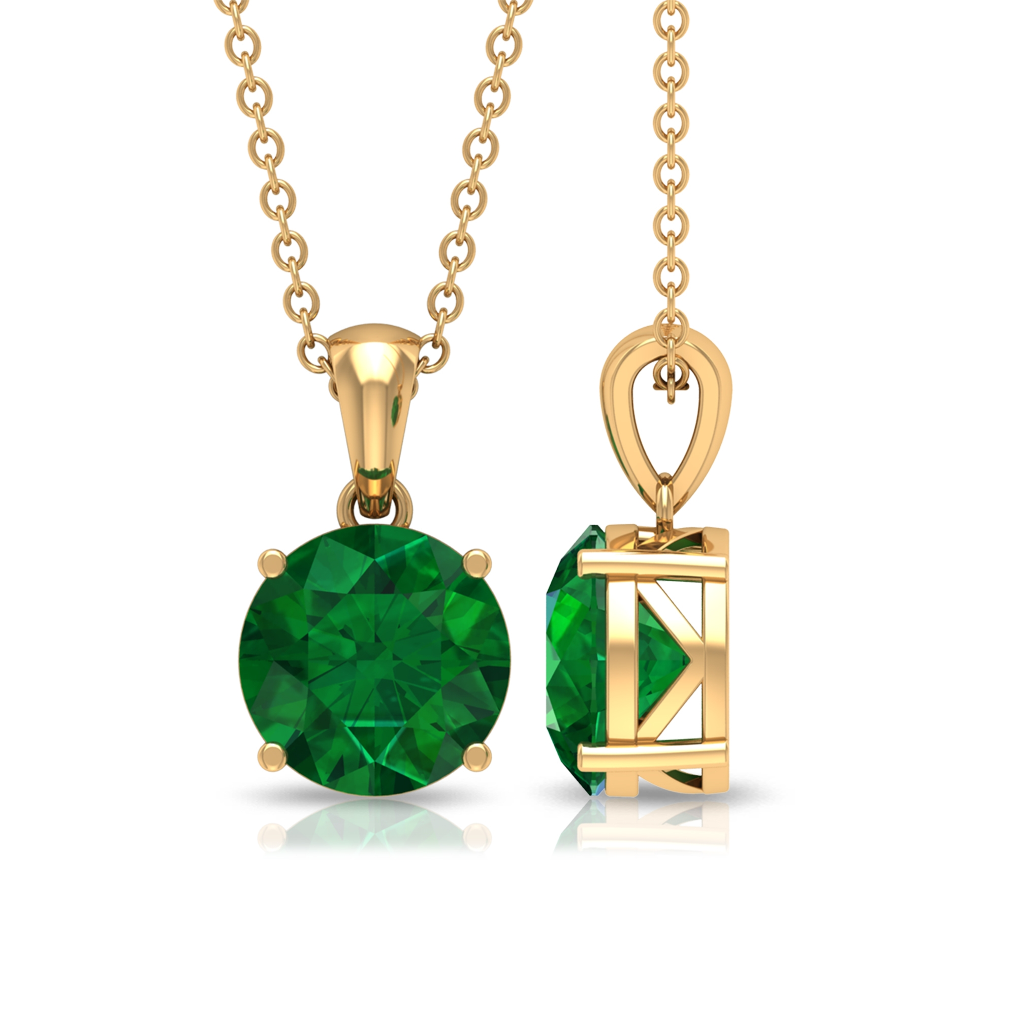 8 MM Round Cut Solitaire Emerald Pendant in Four Prong Setting
