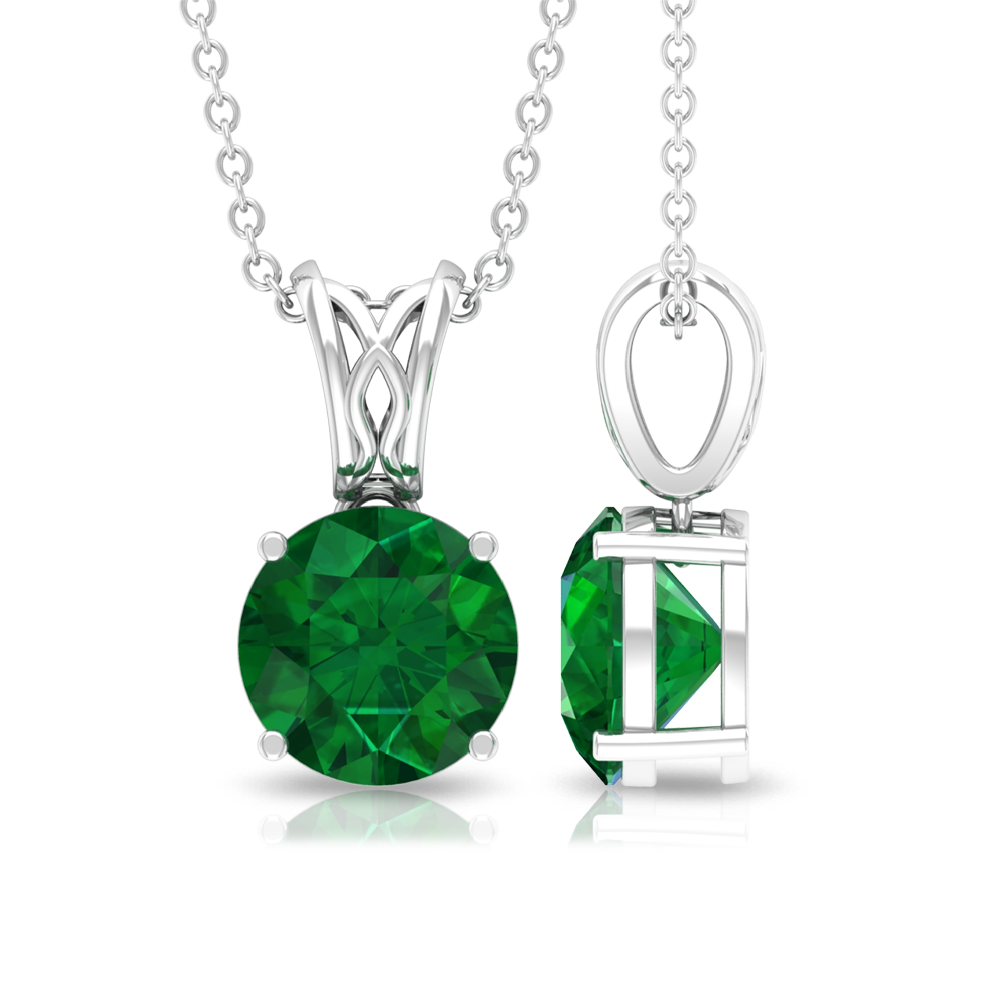 8 MM Round Cut Solitaire Emerald Pendant in Four Prong Set with Decorative Bale