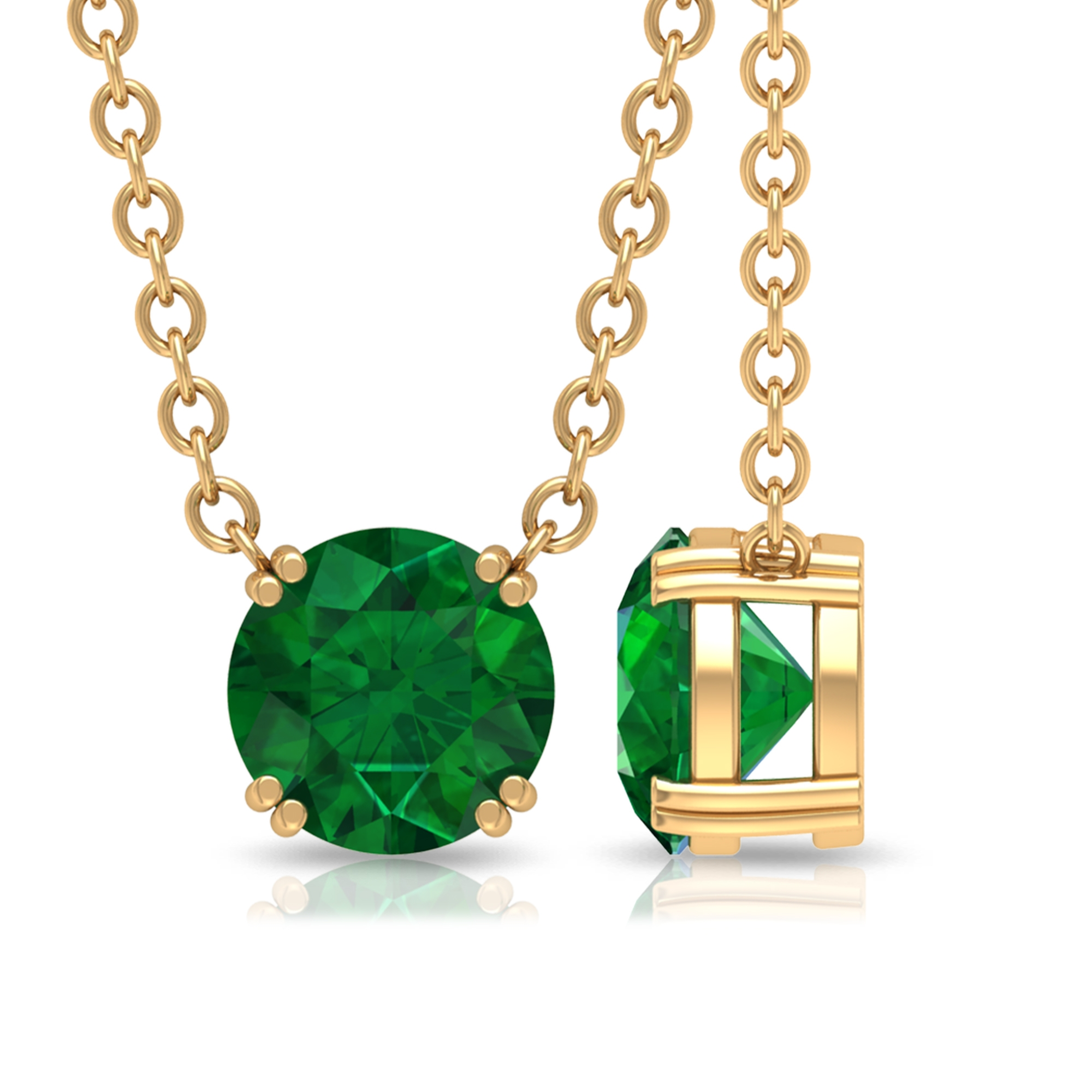 Double Prong Set 5 MM Round Cut Emerald Solitaire Minimal Necklace