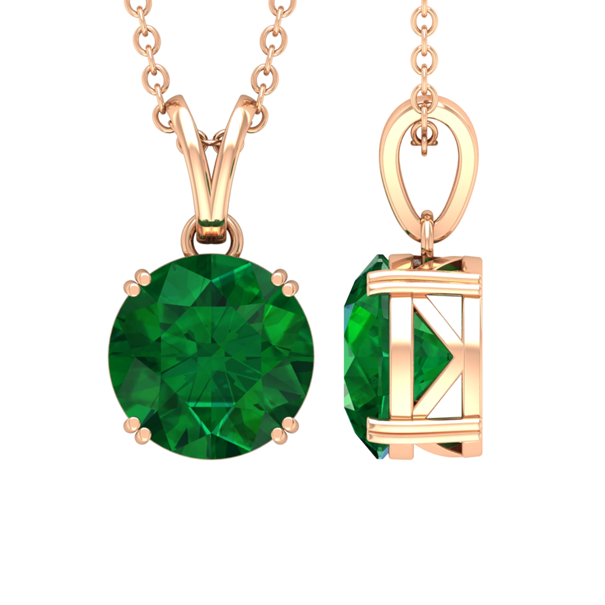 8 MM Round Cut Solitaire Emerald Pendant in Double Prong Set with Rabbit Ear Bale