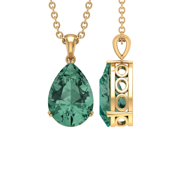 7X10 MM Pear Cut Green Sapphire Solitaire Pendant in Double Prong Setting