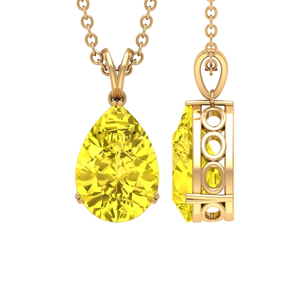 7X10 MM Pear Cut Yellow Sapphire Solitaire Pendant in Double Prong Setting with Rabbit Ear Bail