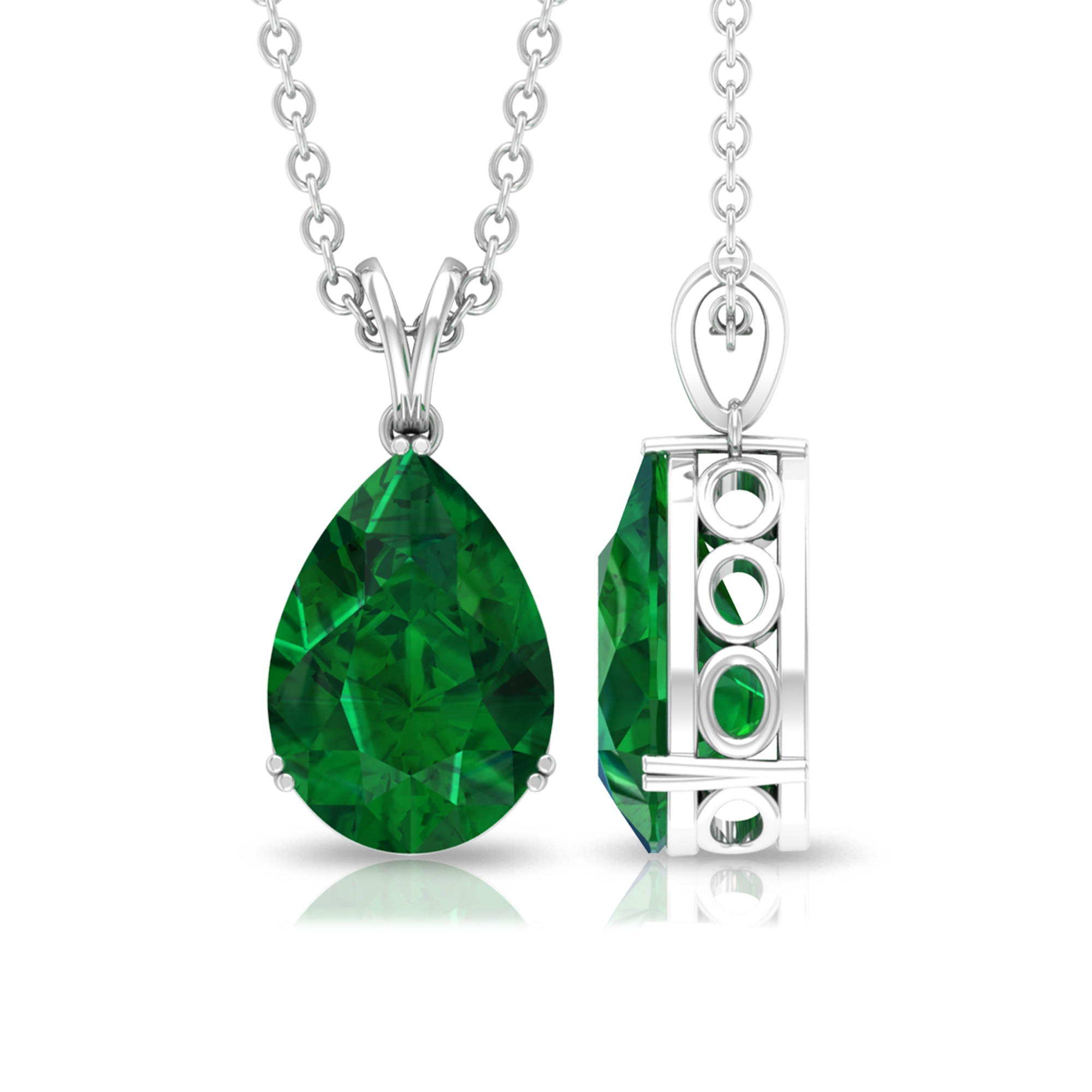2 CT Pear Cut Emerald Pendant in Double Prong Set with Rabbit Ear Bale Style