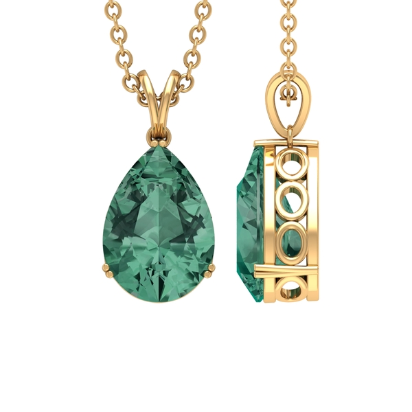 7X10 MM Pear Cut Green Sapphire Solitaire Pendant in Double Prong Setting with Rabbit Ear Bail